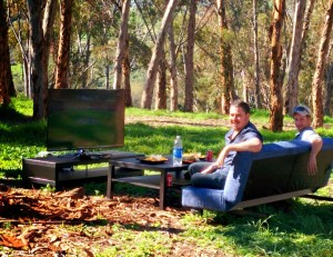 Watching the game in a Eucalyptus Grove